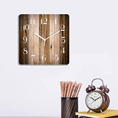 Wooden Wall Clock Silent Non-Ticking , Wood Barn Board Brown Pine Plank Retro Square Rustic Coastal Wall Clocks Décor for Hom