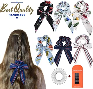 6Pcs Hair Scrunchies Bowknot Ribbon Elastics Hair Bands Scrunchy Flowers Hair Rope Ties Hair Bow Ponytail Holder Accessories for Women Girls