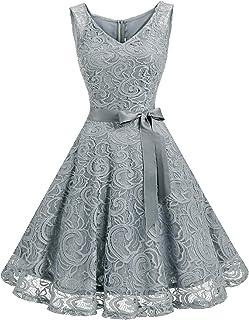 Dressystar Brautjungfernkleid Ohne Arm Kleid Aus Spitzen Spitzenkleid Knielang Festliches Cocktailkleid