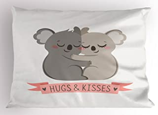 Lunarable Koala Pillow Sham, Valentines Day Themed Hugging Australian Bears Loving Couple with a Banner, Decorative Standard Queen Size Printed Pillowcase, 30