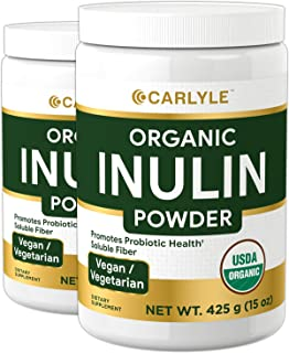 Organic Inulin Powder 30 oz | Twin Pack | Prebiotic Fiber Supplement | from Jerusalem Artichoke | Vegetarian, Non-GMO, Glu...