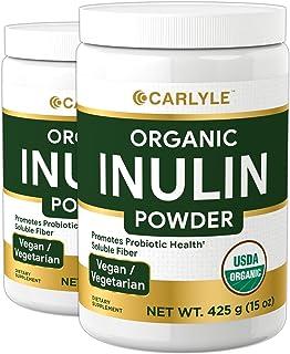 Organic Inulin Powder 30 oz | Twin Pack | Prebiotic Fiber Supplement | from Jerusalem Artichoke | Vegetarian, Non-GMO, Glu...