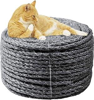 MOUHIV Sisal Juteseil zum Reparieren und Ersetzen Katze Kratzbaum, 100% natürlich Geflochten Bastelschnur für DIY Kätzchen Gekratze Kicker Spielzeug, Zuhause Büro Garten Dekoration, Recycling, Weiß