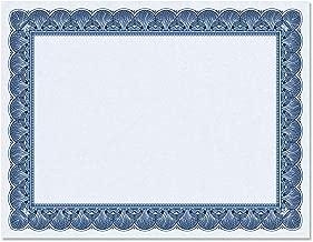 Elite Blue Certificate Paper on Blue Parchment - Set of 100, 8-1/2