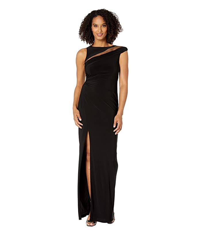 Adrianna Papell Boat Neck Illusion Mesh Column Jersey Gown (Black) Women