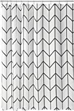 mDesign Decorative Herringbone Print - Easy Care Fabric Hotel Quality Shower Curtain with Reinforced Buttonholes, for Bathroom Showers, Stalls, and Bathtubs, Machine Washable - Black
