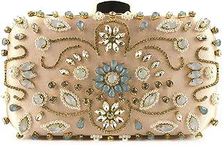 GLJJQMY Evening Bag Shoulder Messenger Bag Handmade Beaded Bag Ladies Dress Party Evening Bag Shoulder Messenger Bag Evening Bags (Color : Black, Size : 20x13x6cm)