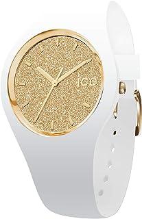 ICE-WATCH - Ice Glitter White Gold, Reloj Blanco para Mujer con Correa de Silicona
