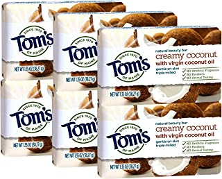 Tom's of Maine Natural Beauty Bar, Coconut, 1.35 Ounce Travel Size (Pack Of 6)