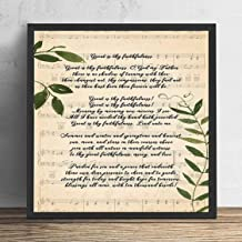 kalistamao Wall Art Painting -Great is Thy Faithfulness Song Lyrics Decor Portrait Poster Print, Decorated Office and Cafe 10x10in with Frame