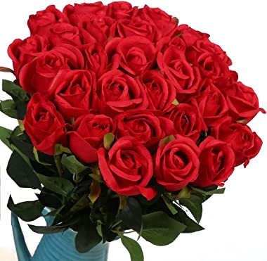 Veryhome Artificial Flowers Silk Roses Fake Bridal Wedding Bouquet for Home Garden Party Floral Decor 10 Pcs (Red Straight st