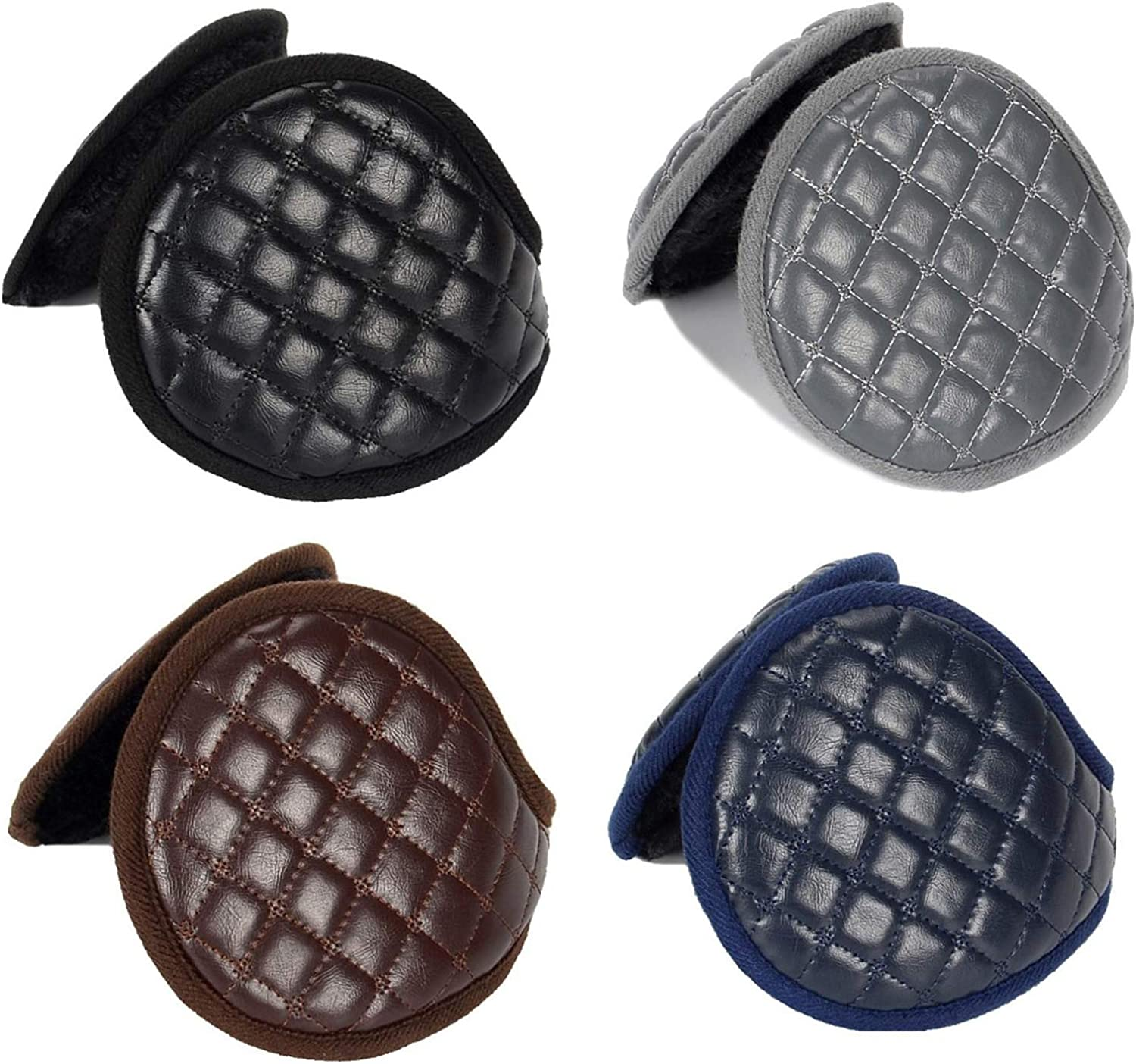 RONRONS 4 Pieces Men Warm Earmuffs Folded Plush Leather Padded Earmuff Winter Outdoor Sports Snowboarding Windproof Plushes Earflaps for Unisex Women, (Black, Coffee, Blue, Gray)