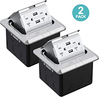 WEBANG Pop Up Floor Outlet Covers Box with 20 Amp Stainless Steel USB TR Receptacle Outlet (Silver) 2PACK