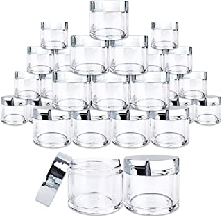 Beauticom 30 Pieces 30G/30ML(1 Oz) Round Clear Jars with Metallic SILVER Flat Top Lids for Herbs, Spices, Loose Leaf Teas, Coffee & Other Foods- BPA Free