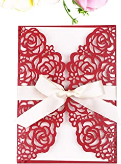 PONATIA 25 PCS 5.12 x 7.1'' 250GSM Laser Cut Hollow Rose Wedding Invitations Cards with Ivory Ribbons for Bridal Shower Engagement Birthday Graduation Invitation (Red)