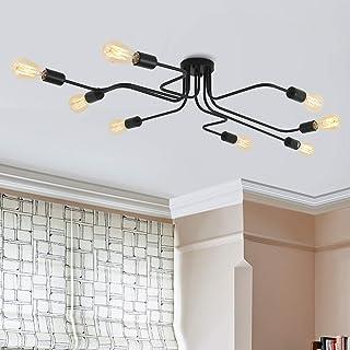 Lámpara colgante de comedor de metal Lámparas de araña de acero moderno Iluminación de techo con luz E27 Bulbo pintado en interior colgante para dormitorio, sala de estar, cafetería (negro-8 luces)