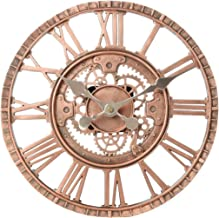 Lily's Home Hanging Wall Clock, Steampunk Gear and Cog Design with a Bronze Finish, Ideal for Indoor or Outdoor Use, Poly-...