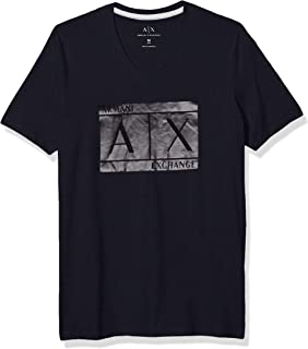 A|X Armani Exchange Men's V-Neck Short Sleeve T-Shirt with Logo in Box