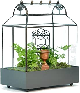 H Potter Glass Terrarium Succulent Planter Wardian Case Container Barrel Roof Dimensions in Inches 9.5 Long 5.75 Wide 13 High