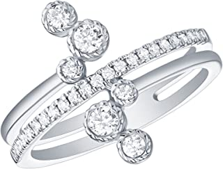 Clearance 0.35Ct G-H/I1 Round Natural Diamond Bypass Ring, 10k White Gold, Size 10.5
