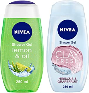 NIVEA Shower Gel, Lemon & Oil Body Wash, Women, 250ml & NIVEA Shower Gel, Fresh Hibiscus & Grapefruit Clay Body Wash, Wome...