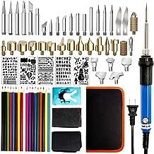 HOTOOLME 77PCS Burning Kit Wood Burner Tool Set Professional Pyrography Pen with Adjustable Temperature, 18 Pencils, Soldering, Embossing