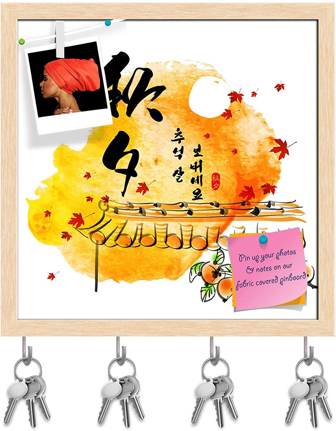 Artzfolio Thanks Giving Day Key Holder Hooks   Notice Pin Board   Natural Brown Frame 20 X 20Inch