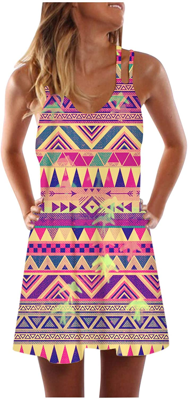 Oiumov Boho Dress for Women Casual Summer Sleeveless Deep V Tie-dye Casual Mini Beachwear Dress Sundress Cover Up Dress