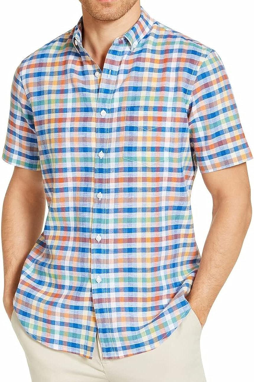 Clubroom Mens Blue Lightweight Plaid Button Down Casual Shirt XXL