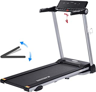 MaxKare Treadmill with 15 Pre-Set Programs 2.5HP Power Wide Tread Belt 8.5 MPH Max Speed LCD Screen Cup Holder & Wheels Easy Assembly Folding Running Machine Black (901)