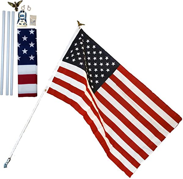 Independence Residential US Flag Set 3 X 5 American USA Printed Banner Kit 6 Pole Mount