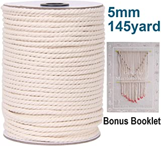 XKDOUS Macrame Cord 5mm x 145Yards, Natural Cotton Macrame Rope, 3 Strand Twisted Cotton Cord for Wall Hanging, Plant Hangers, Crafts, Knitting, Decorative Projects, Soft Undyed Cotton Rope