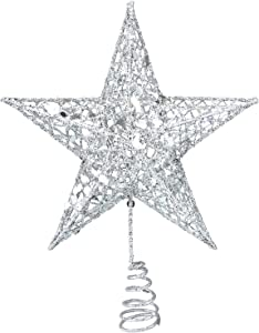 Resinta Metal Glittered Christmas Tree Topper Hallow Wire Star Topper for Christmas Tree Ornament (Silver)