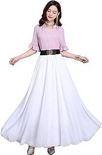 Summer Chiffon High Waist Pleated Big Hem Floor/Ankle Length Beach Maxi Skirt for Women Wedding Party