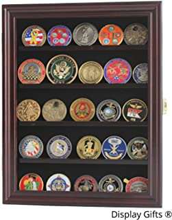 Military Challenge Coin Display Case Cabinet Medal Rack Holder Shadow Box (Mahogany)