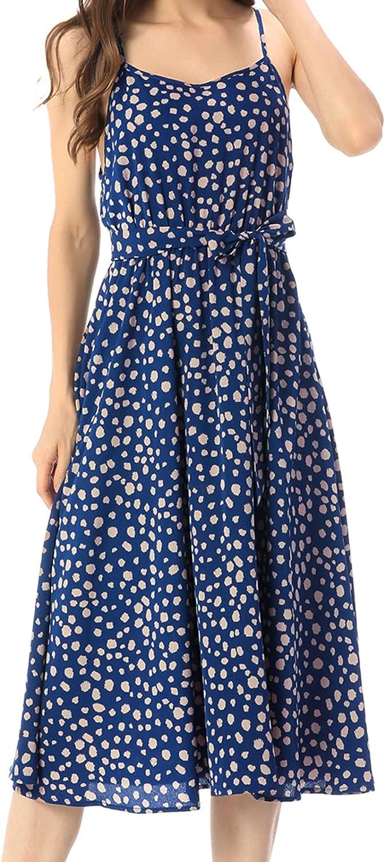 FFever Women's Leopard Cheap sale Print Sundresses Houston Mall Casual Tie D Front Midi