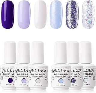 Gellen Gel Nail Polish Kit - 6 Colors Cool Purple Blue Tones Winter Nail Gel Colors, Shiny Snow Sparkle Glitters Nail Art ...