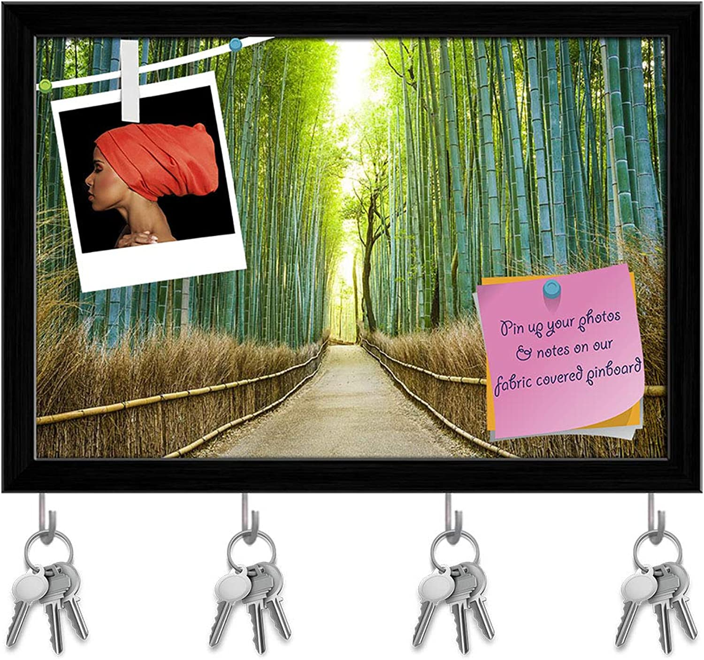 Artzfolio Kyoto Japan Bamboo Forest Key Holder Hooks   Notice Pin Board   Black Frame 17.5 X 12Inch