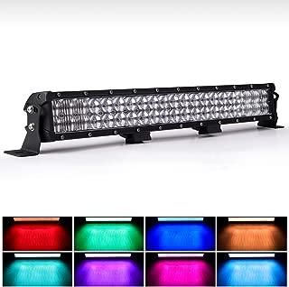 WEISIJI LED Light Bar 20inch Straight 6000K Spot Flood Combo Beam RGB LED Work Light Bar Offroad 4x4 Jeep Truck ATV SUV 4WD Pickup Boat LED Driving Light Remote Control