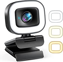 60FPS 1080P Webcam with Ring Light and Microphone, Auto-Focus, Webcam Cover, Plug and Play, Web Camera for Zoom Skype Stre...