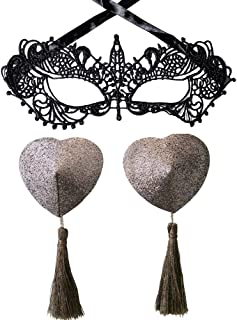 Amiciyah Sequins Heart Tassel Nipple Pasties & Lace Mask Breast Pad for for Couples Role Play Costume Accessory(Gray)