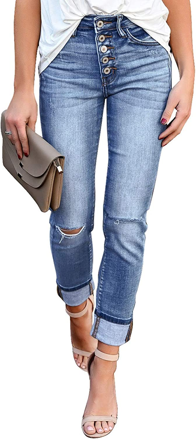 LookbookStore Women's Mid Rise Ripped Jeans Washed Distressed Straight-Leg Denim Pants
