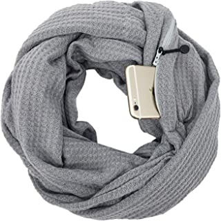 Scarf Zipper Male/Female Pocket Storage Multifunction Warm Convenience Four Seasons Double Layer` TuanTuan (Color : Gray, Size : 165-180CM)