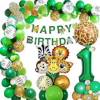 Jungle verjaardag decoratie 1 jaar, AcnA verjaardagsdecoratie jongens 1 jaar, kinderverjaardag decoratie safari Happy Birt...