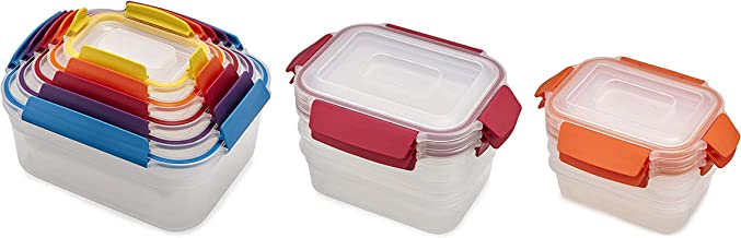 Joseph Joseph Nest Lock Plastic Food Storage Container Set with Lockable Airtight Leakproof Lids, 22-Piece, Multi-Color