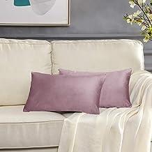 GIGIZAZA Decorative Small Lumbar Pillow Covers,Cushion Covers Velvet Pink Pillows,Sofa Throw 12 X 20 Pillow Covers