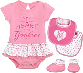 MLB Newborn & Infants Girls Baseball Girl Creeper, Bib, Bootie Set