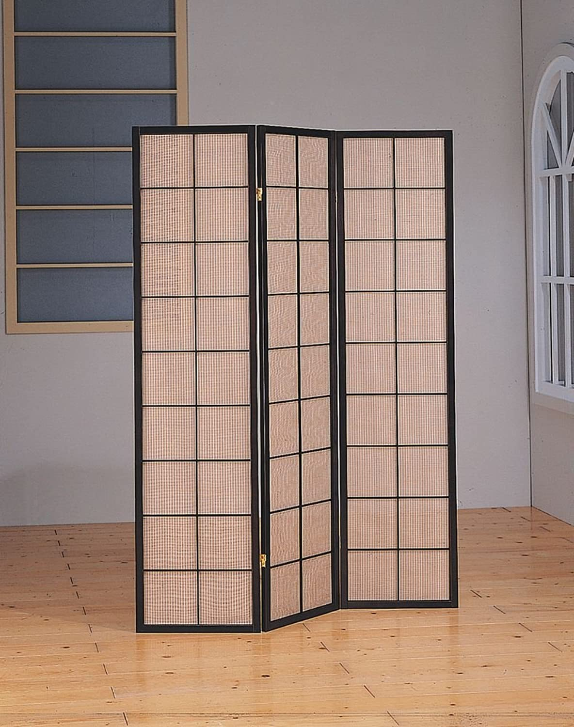 Monarch Specialties 3-Panel Folding Screen with Fabric Inlay, Cappuccino