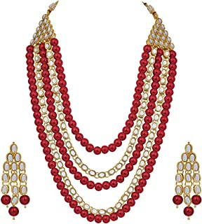 Aheli 4 Layered Indian Traditional Long Kundan Pearl Necklace Earrings Set (Red) Ethnic Bollywood Festive Jewelry for Wome...