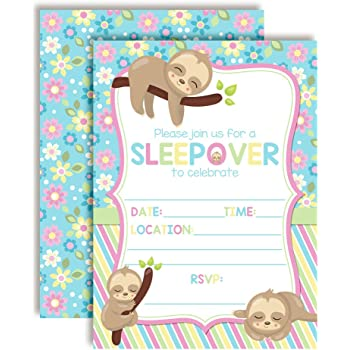 Magical Unicorn Slumber Party Sleepover Birthday Party Invitations 20 5x7 Fill in Cards with Twenty White Envelopes by AmandaCreation